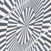 cómoda de inspiración oriental. Diseño geométrico en blanco y negro.