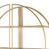 Estantería circular de pared dotada de 3 estantes. Estructura metálica acabado en dorado de alto brilllo. Estantes de vidrio.