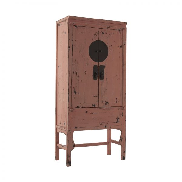 Armario de estilo oriental fabricado en madera de pino reciclado rosa