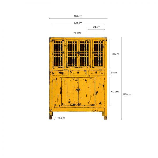 Vitrina de estilo ecléctico fabricada en madera de pino reciclado. Acabado en amarillo