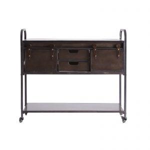 Consola de estilo industrial vintage de hierro marrón oscuro