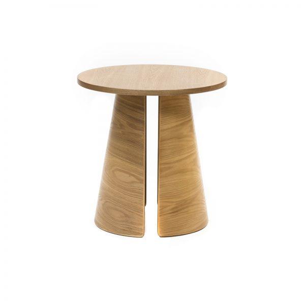 Mesa auxiliar redonda de madera de fresno acabado natural