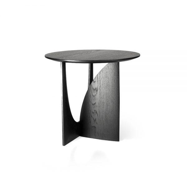 Lateral de Mesa auxiliar de diseño, elaborada con madera de roble maciza, lacada en negro